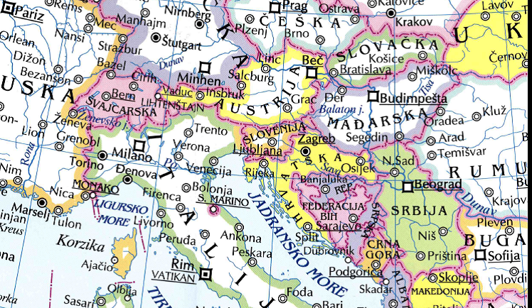 auto karta srednje evrope Na karti Evrope kupljenoj u 'Svjetlosti' FBiH i RS prikazane kao  auto karta srednje evrope