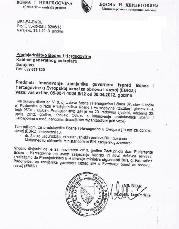 Lagumdžija predložio Radončića za zamjenika guvernera BiH u EBRD-u