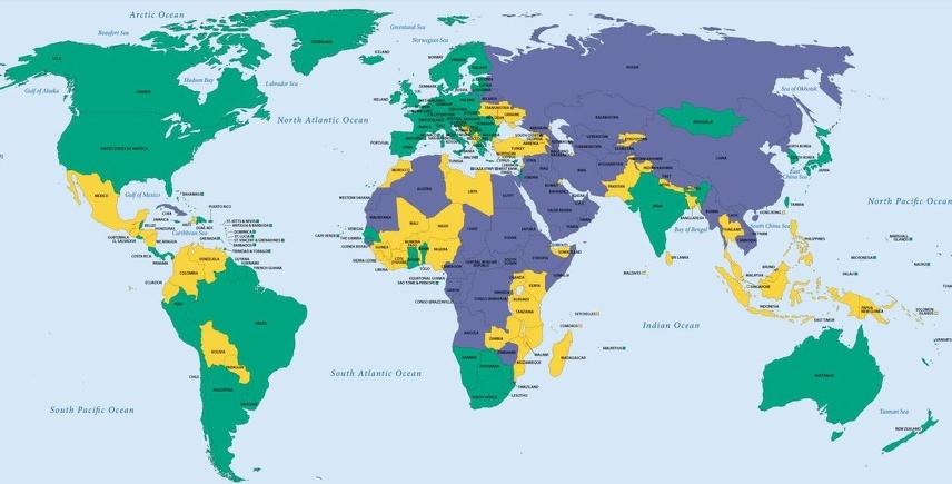 kuba karta sveta Bosna i Hercegovina djelimično slobodna zemlja, Srbija, Hrvatska i  kuba karta sveta
